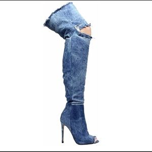 Liliana Barbara13 Thigh High Distressed Demi Boots